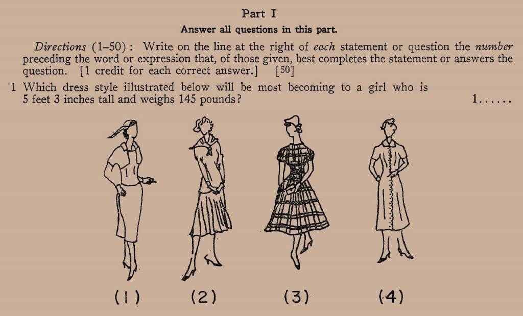 1959 Regents Exam Dress question